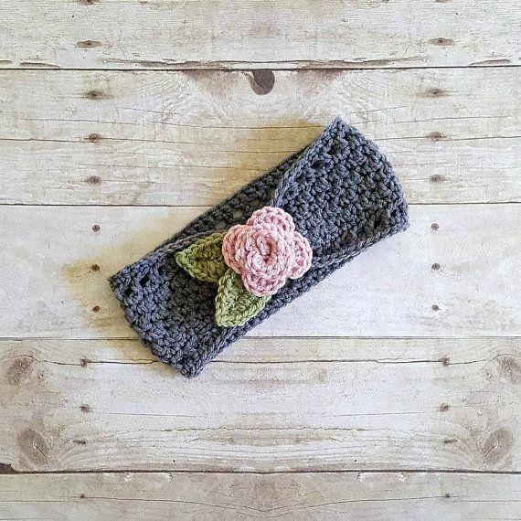 Crochet Flower Headband Ear Warmer Rose by RedLollipopBoutique ...
