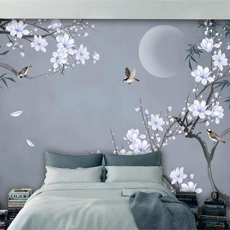 Photo Wallpaper Chinese Style Hand-painted Bamboo Leaf Magnolia Flowers Birds 3D Wall Murals Living Room Bedroom Wall Painting