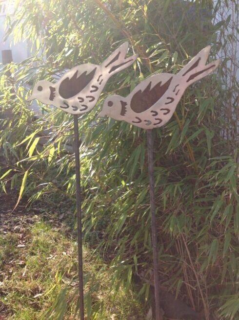 gartenstecker windspiel edelstahl, 2st. gartenstecker beetstecker edelstahl & edelrost vogel gartendeko, Design ideen