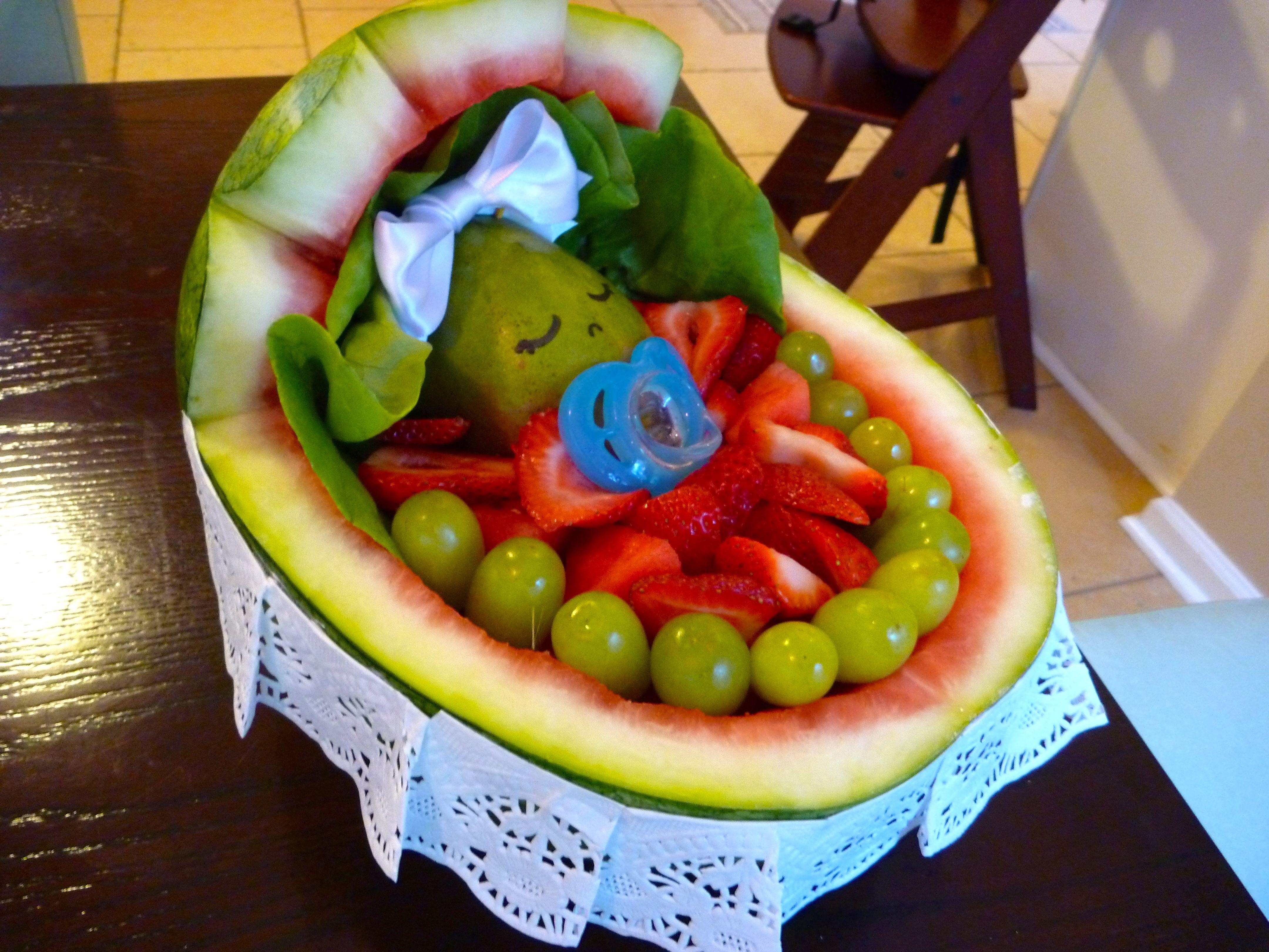 Baby Shower Fruit Idea. Baby Sleeping In A Cradle.