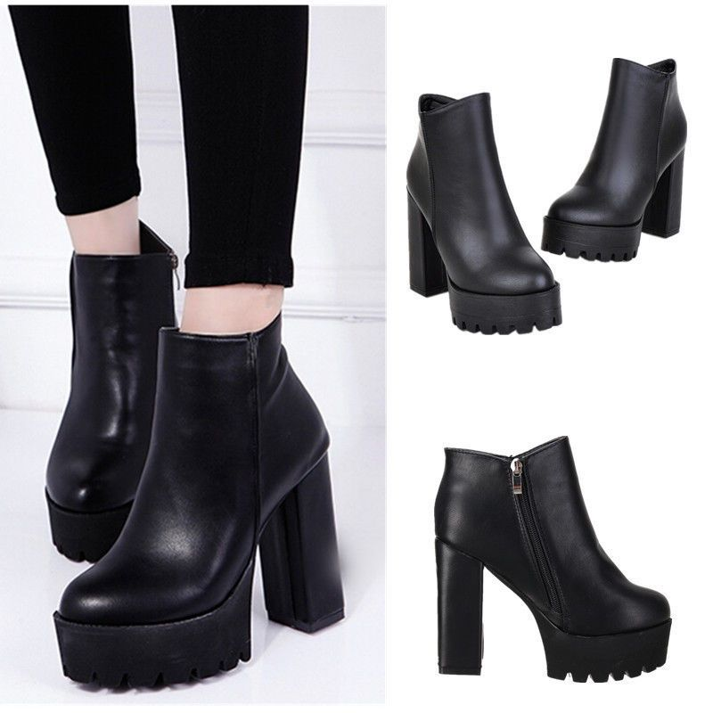 5df2c726a3272 Women Winter Platform Ankle Boots High Heel Chunky Leather Shoes ...