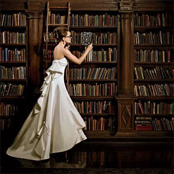 Bride In Library Book Themed Wedding Library Wedding Wedding Engagement Pictures