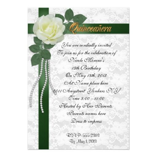 Quinceanera Invitation White Rose And Green Ribbon Quinceanera