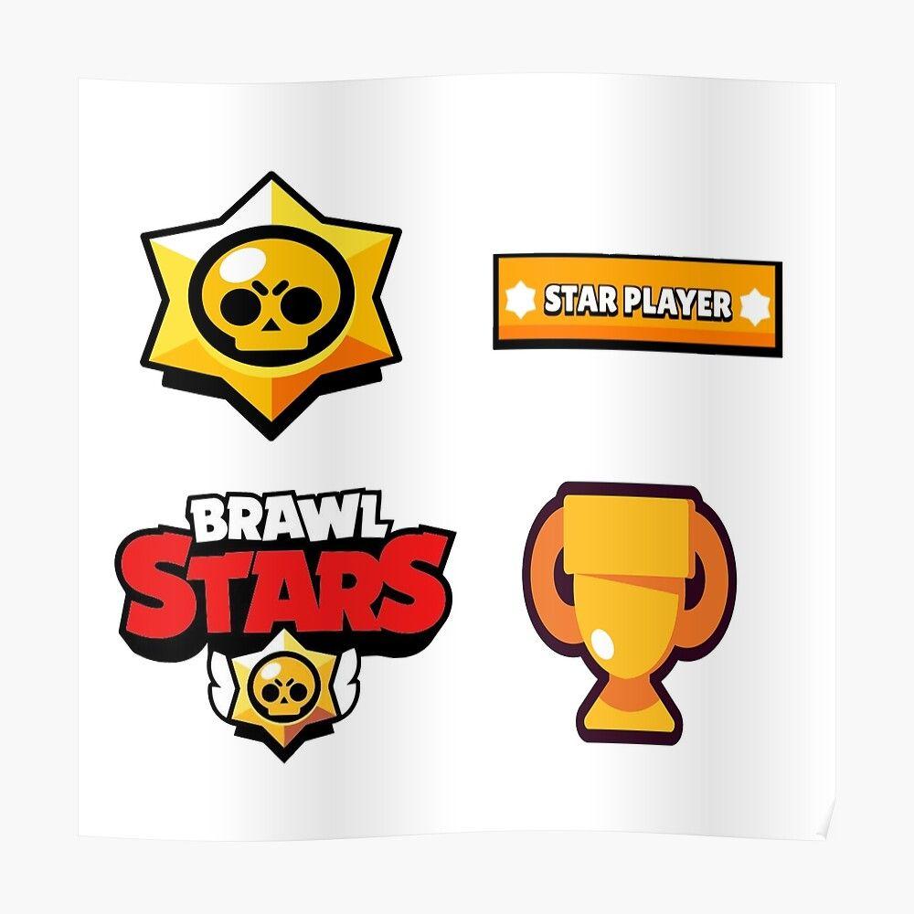 Brawl Stars Logo Sticker Bundle Poster By Kingrockstudios In 2020 Logo Sticker Star Logo Stars