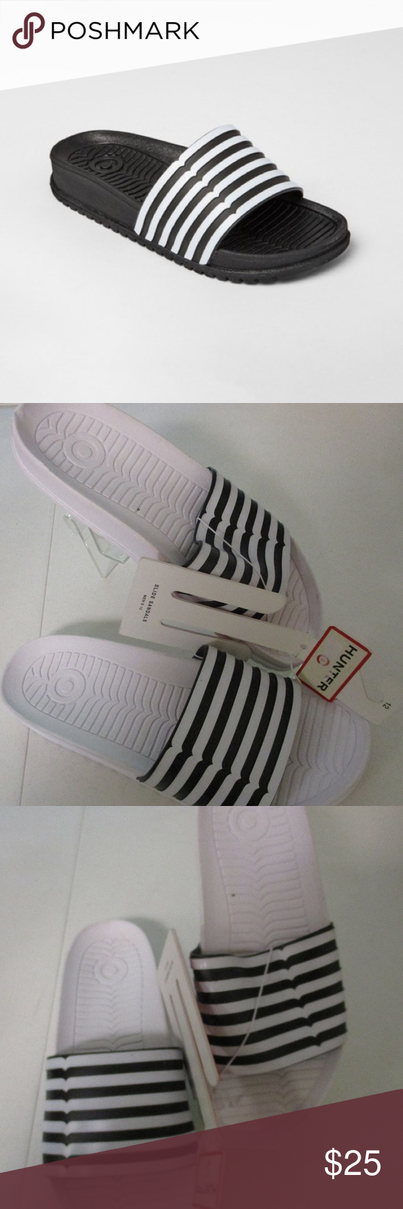 5a918e97447 Hunter Target Stripe Sandals Men s 12 13 New Hunter for Target Men s  Black White Athletic Striped Casual Slide Sandals in size 12 and 13  Sold  out in stores ...