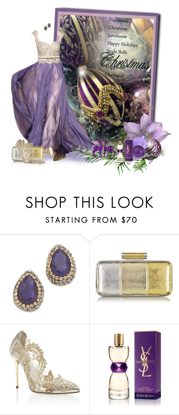 """Purple Christmas"" by loveroses123 ❤ liked on Polyvore featuring Native Gem, Pinko, Oscar de la Renta and Yves Saint Laurent"