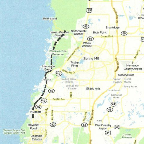 Hudson Florida Map.Florida Backroads Travel Map Of Route From Weeki Wachee Springs