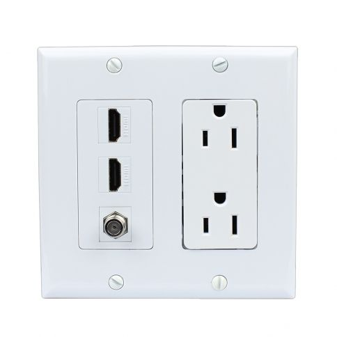 Ethernet And Coax Wall Plate Best Combination 15 Amp Power Outlet 2 Port Hdmi 1 Port Coax Decora Wall Design Inspiration