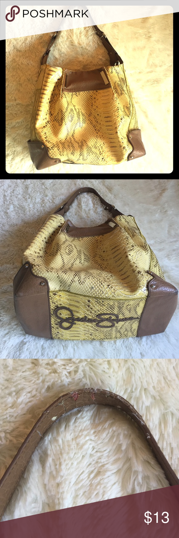 Jessica Simpson Yellow Snakeskin Some wear. Visible on pics.  Overall decent condition. Jessica Simpson Bags Hobos