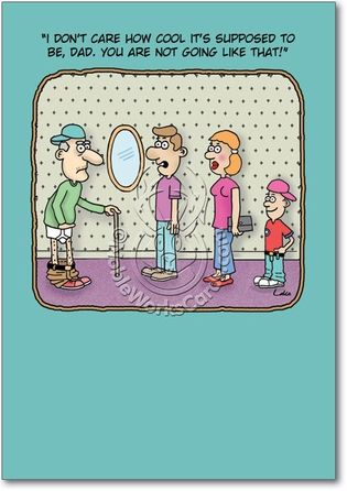 Funny Cartoon Birthday Card For The Hip Grandpa