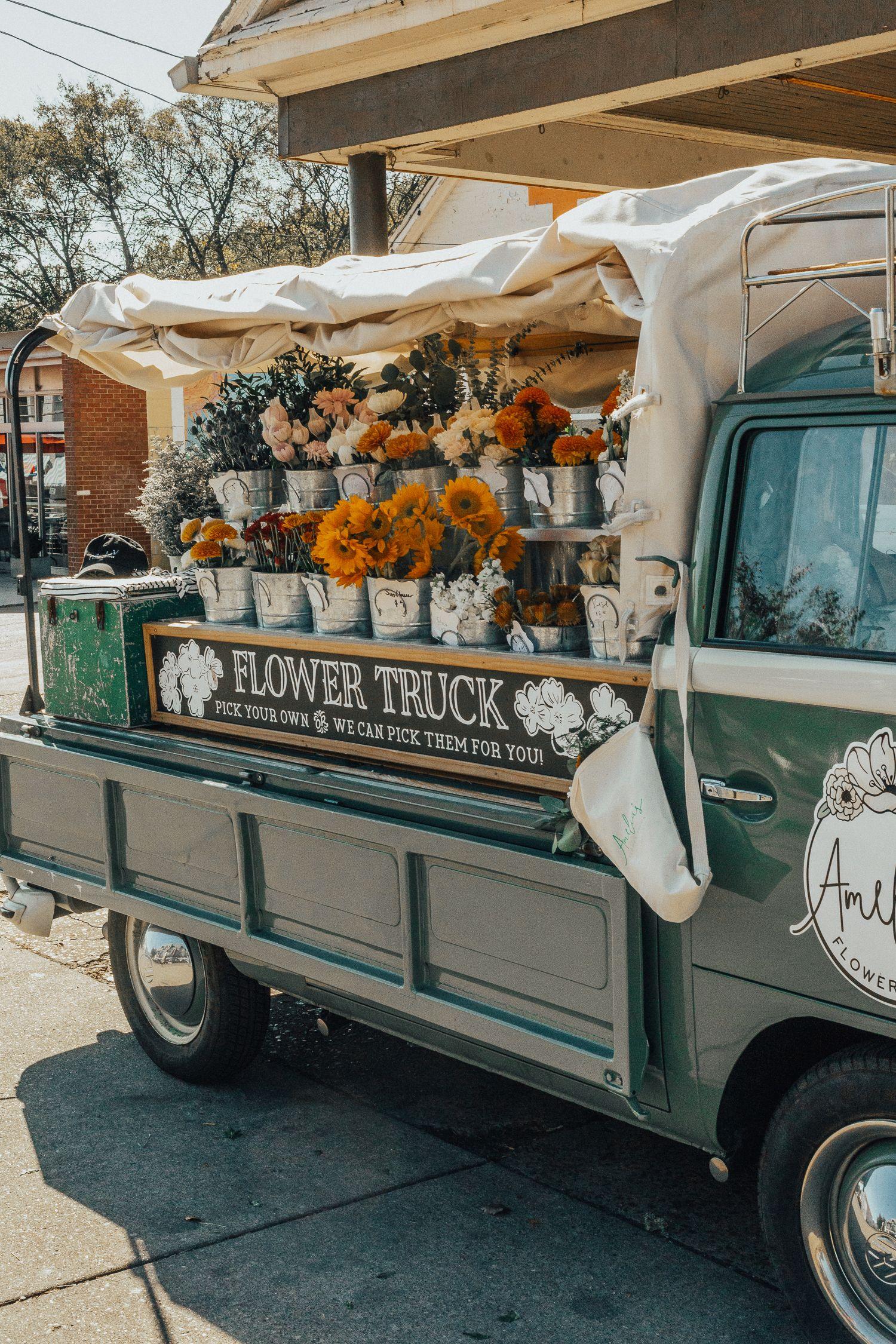 Nashville Denim Leather Wanderlust Out West Flower Truck Flower Cart Flower Shop