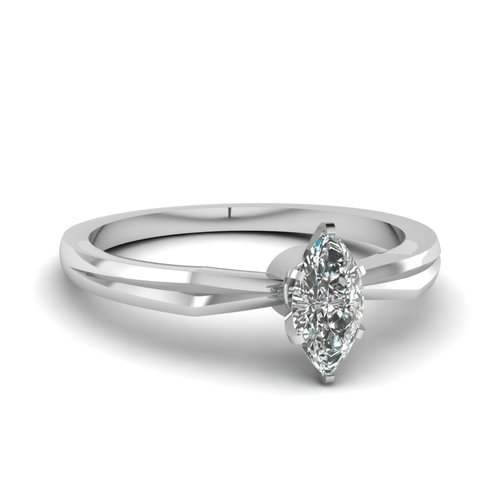 Marquise Shaped Diamond Solitaire Ring With White Diamonds In 14k White Gold   V Edged Ring   Fascinating Diamonds wedding  #solitaire -  #14k