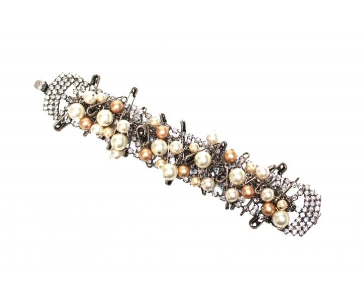 CRYSTAL, MULTI SAFETY PINS AND PEARLS BRACELET