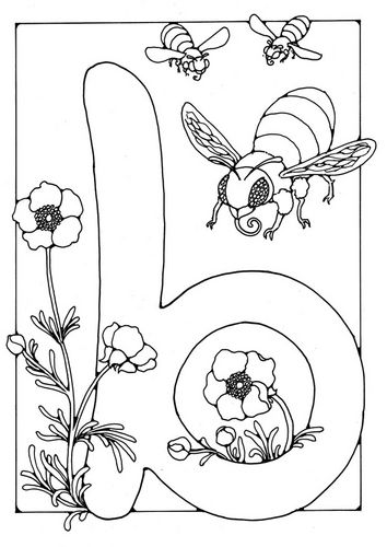 Coloring page letter - b | Illuminated Letters | Pinterest | Abeja ...