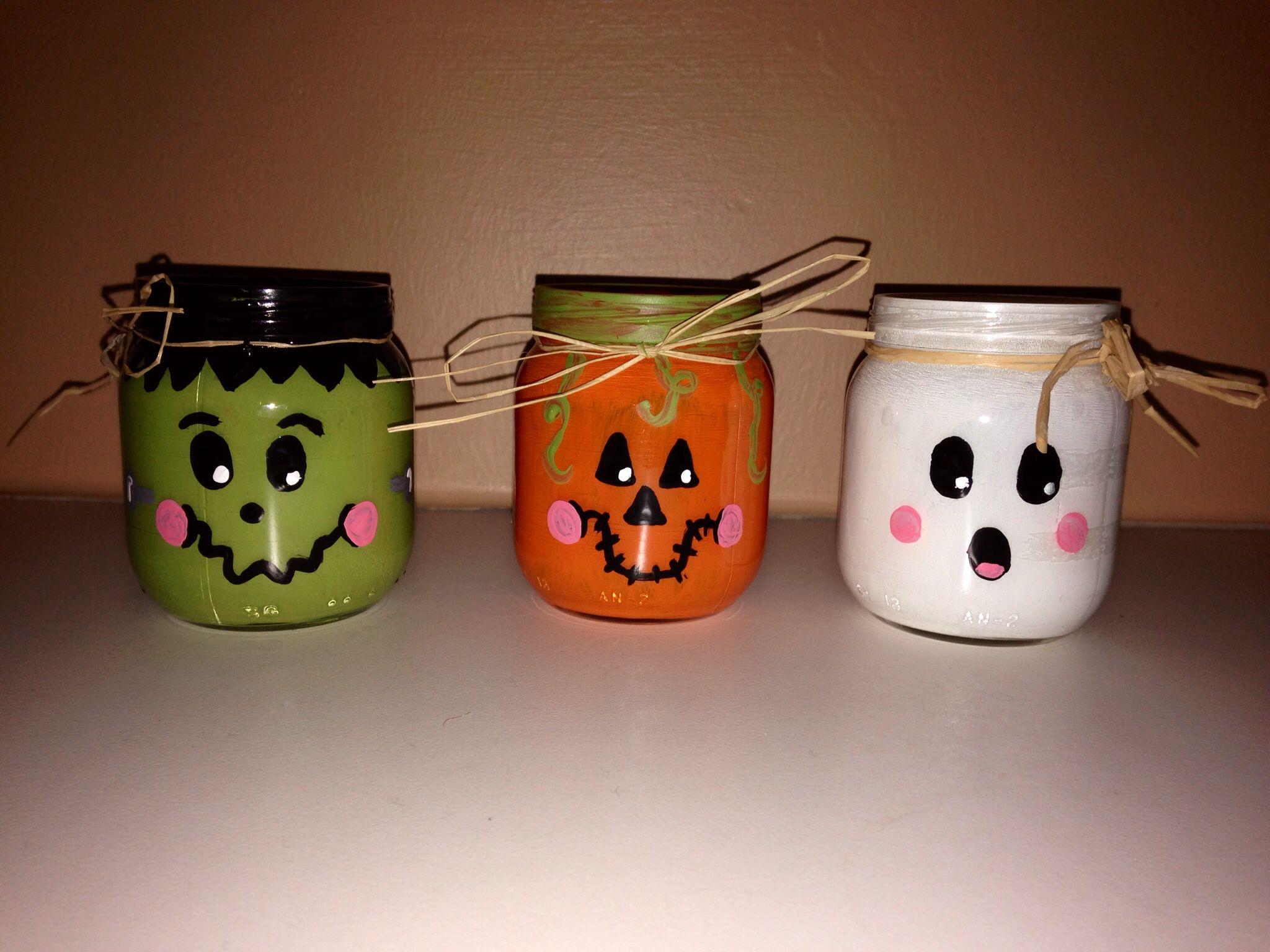 Baby food jar frankenstein pumpkin ghost halloween for Jar crafts