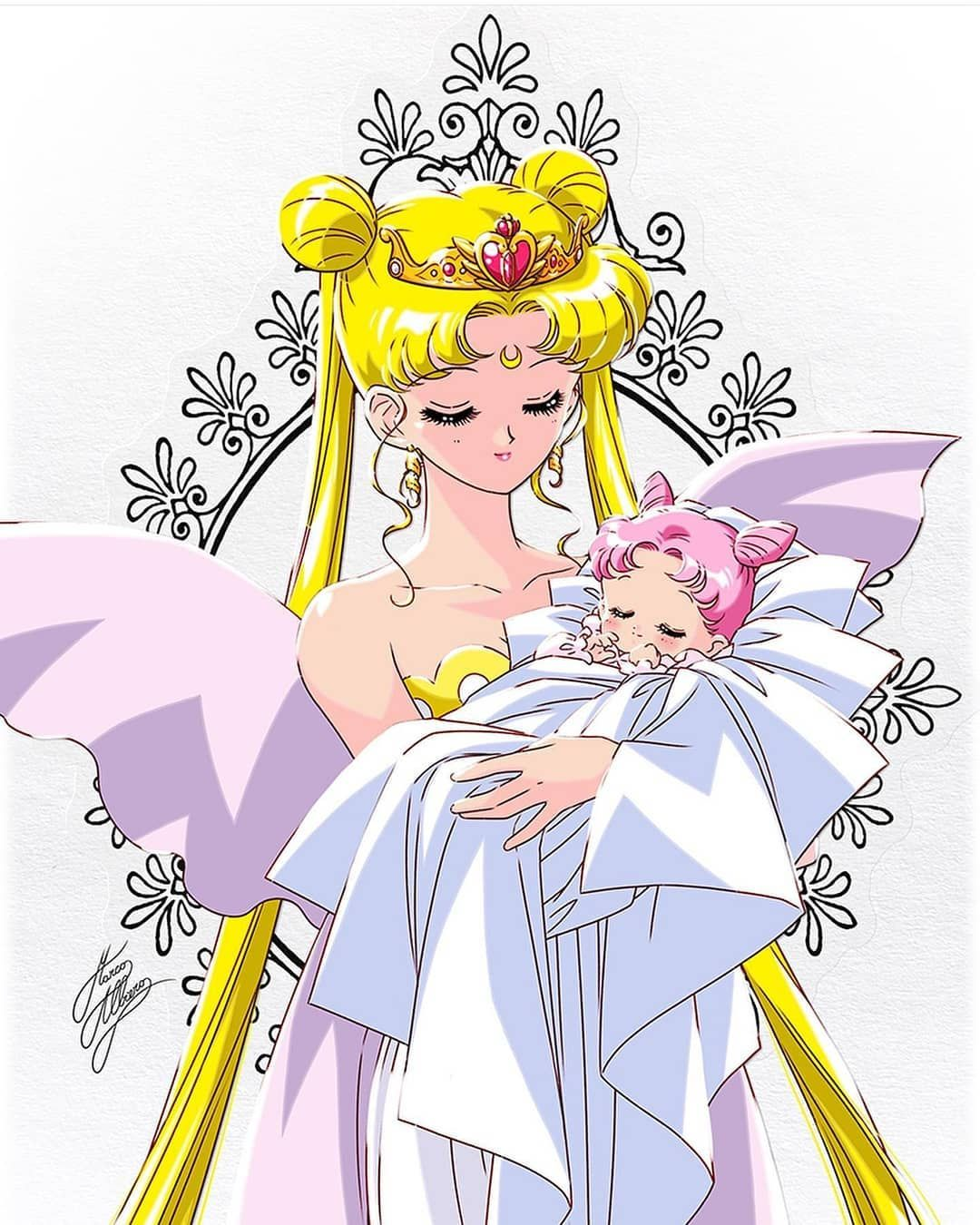 Usagi Tsukino On Instagram Such Beautiful Artwork Of The Queen And Baby Chibiusa Done By Mar Sailor Chibi Moon Sailor Mini Moon Sailor Moon Stars