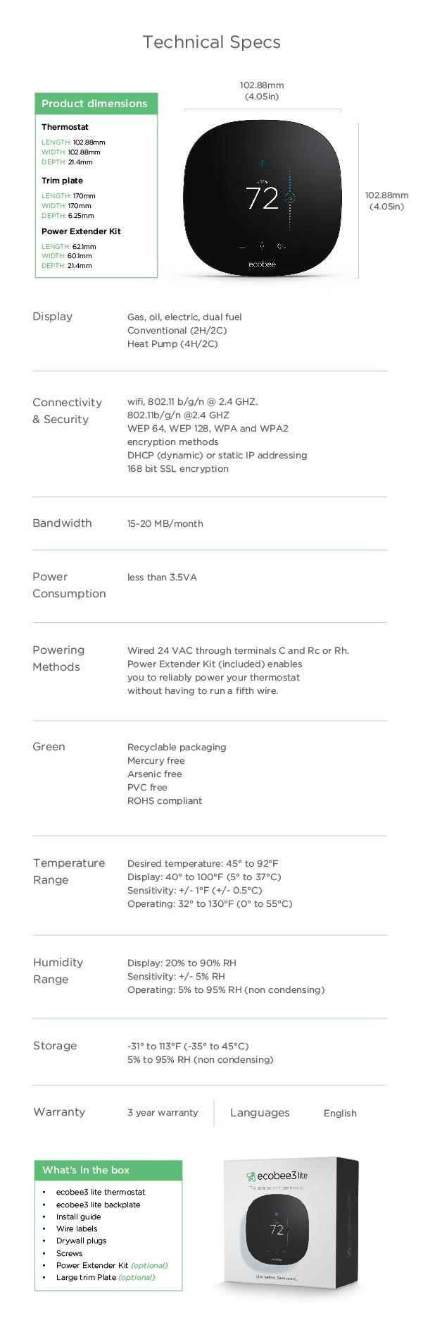ecobee Lite Smarter WiFi ThermostatEBSTATe3L01 The