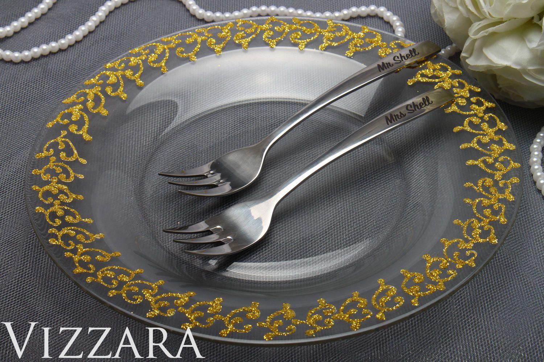 Cake forks and plate wedding supplies wedding forks set