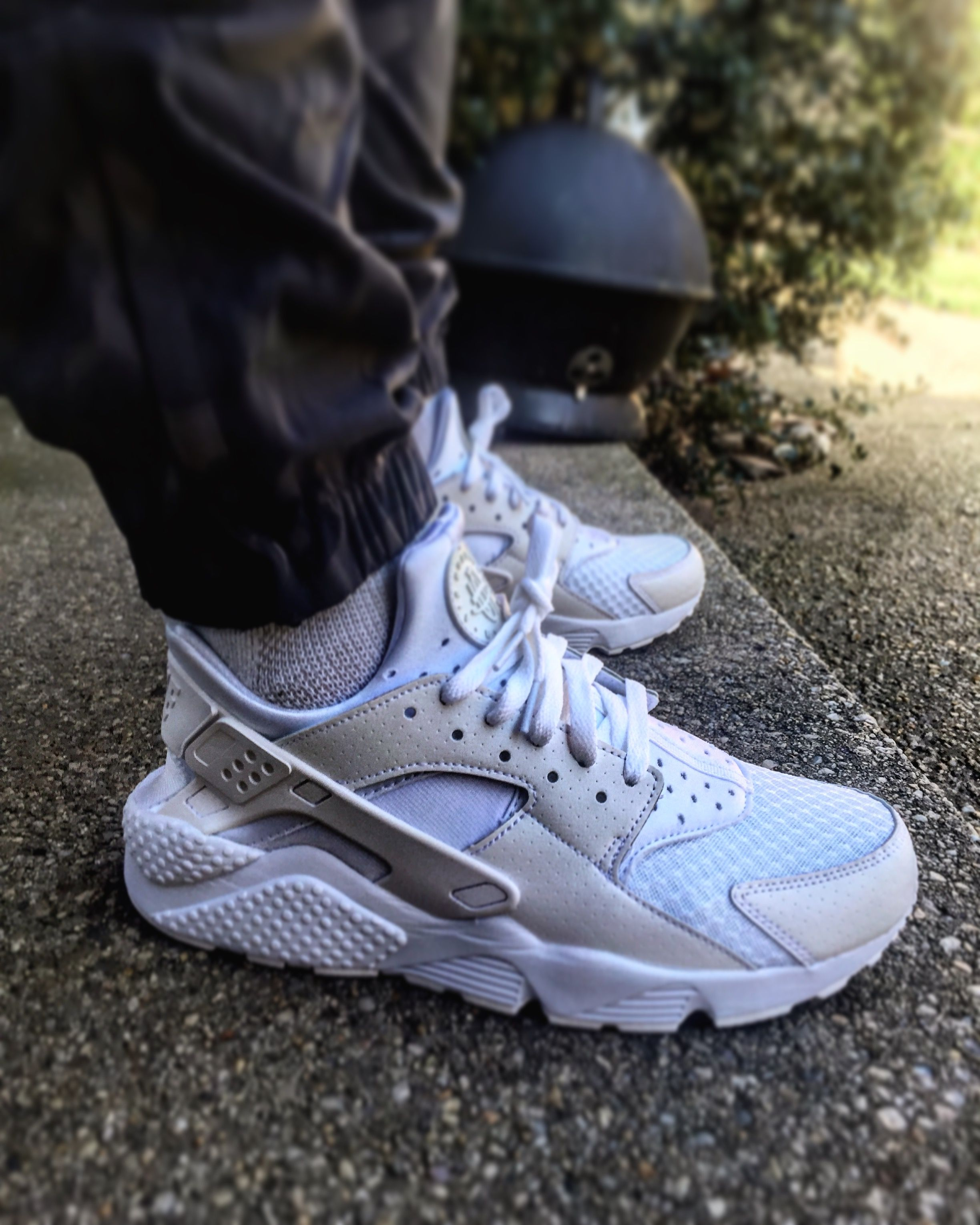 Triple White Nike Air Huaraches w/ Nike Camo Joggers