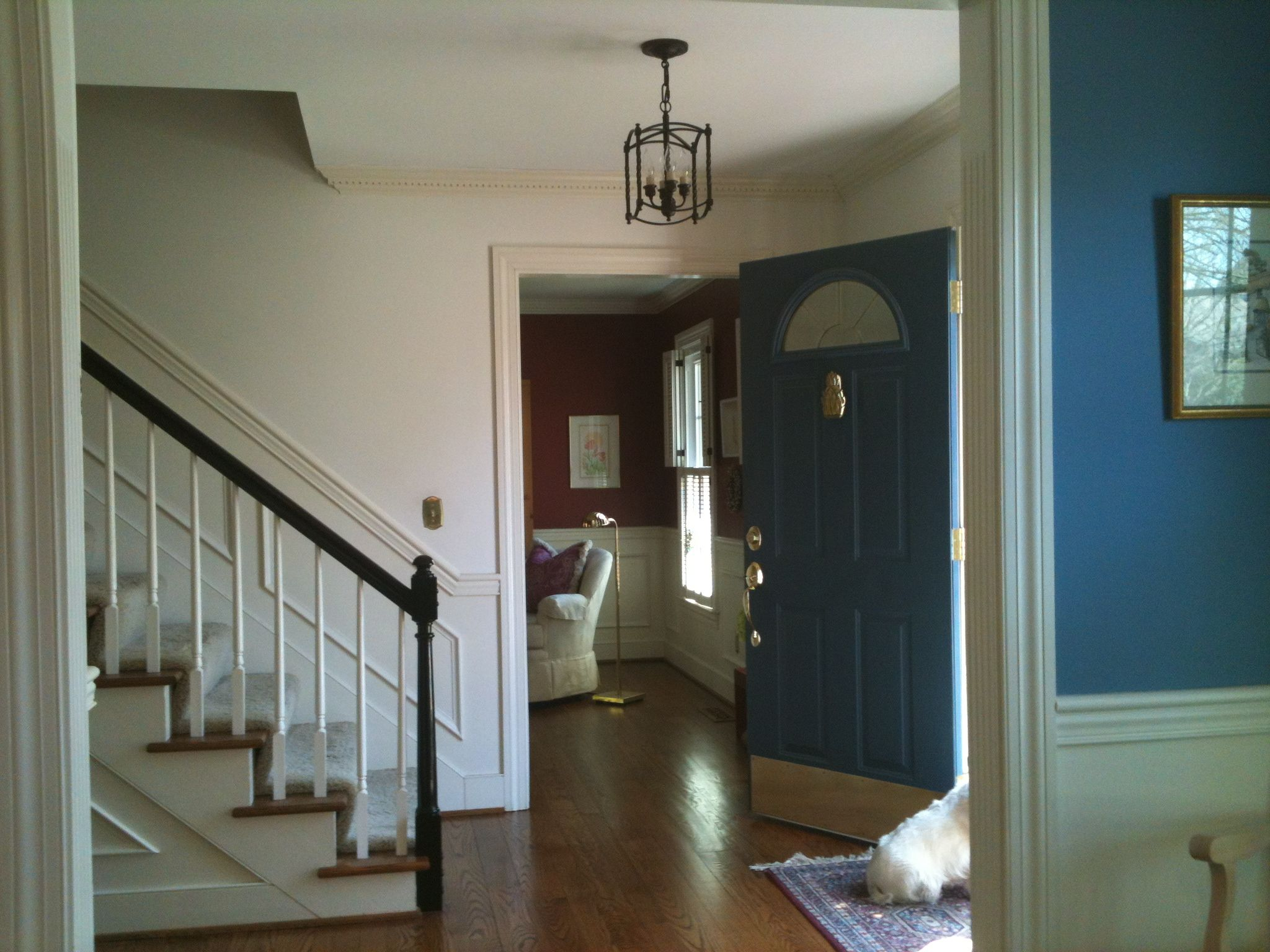 Foyer Lighting Jobs : Painted handrail black and new foyer light entryway