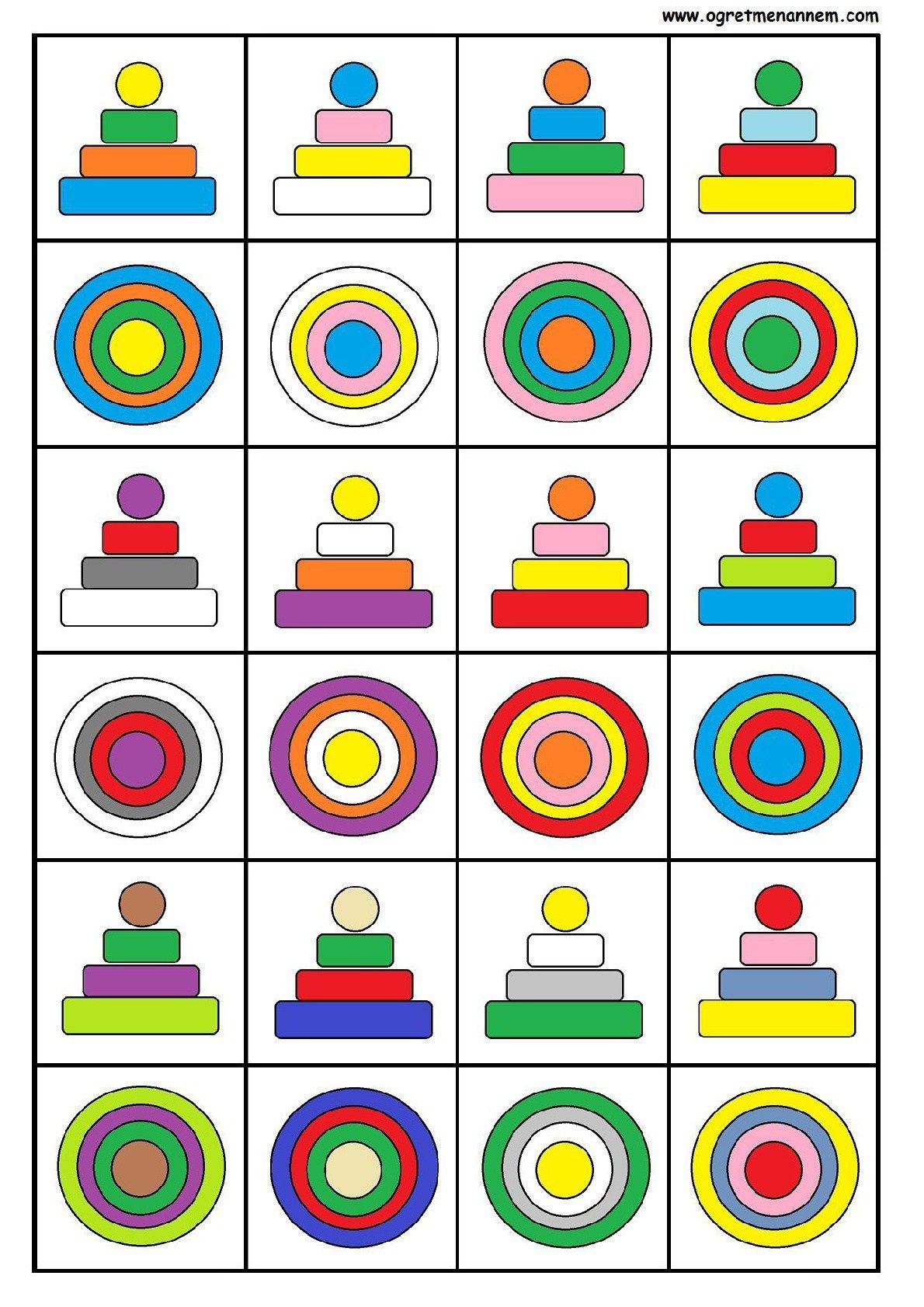 Percepcion Visual Espacial Tarjetas Con Formas Y Colores