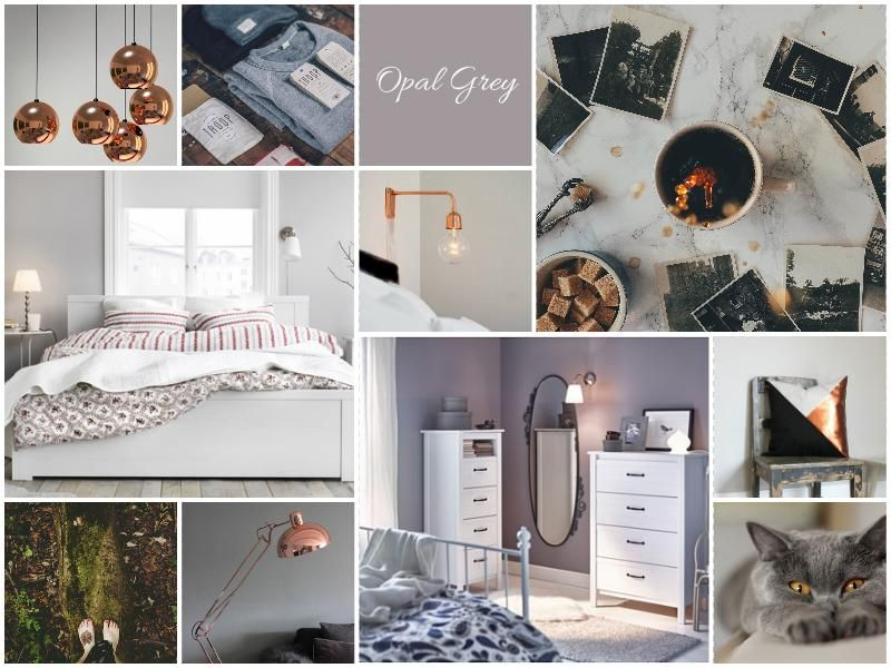 Bedroom moodboard in opal gray hues and copper details. See more here -