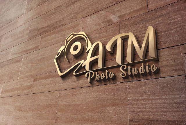 3d wall logo mockup