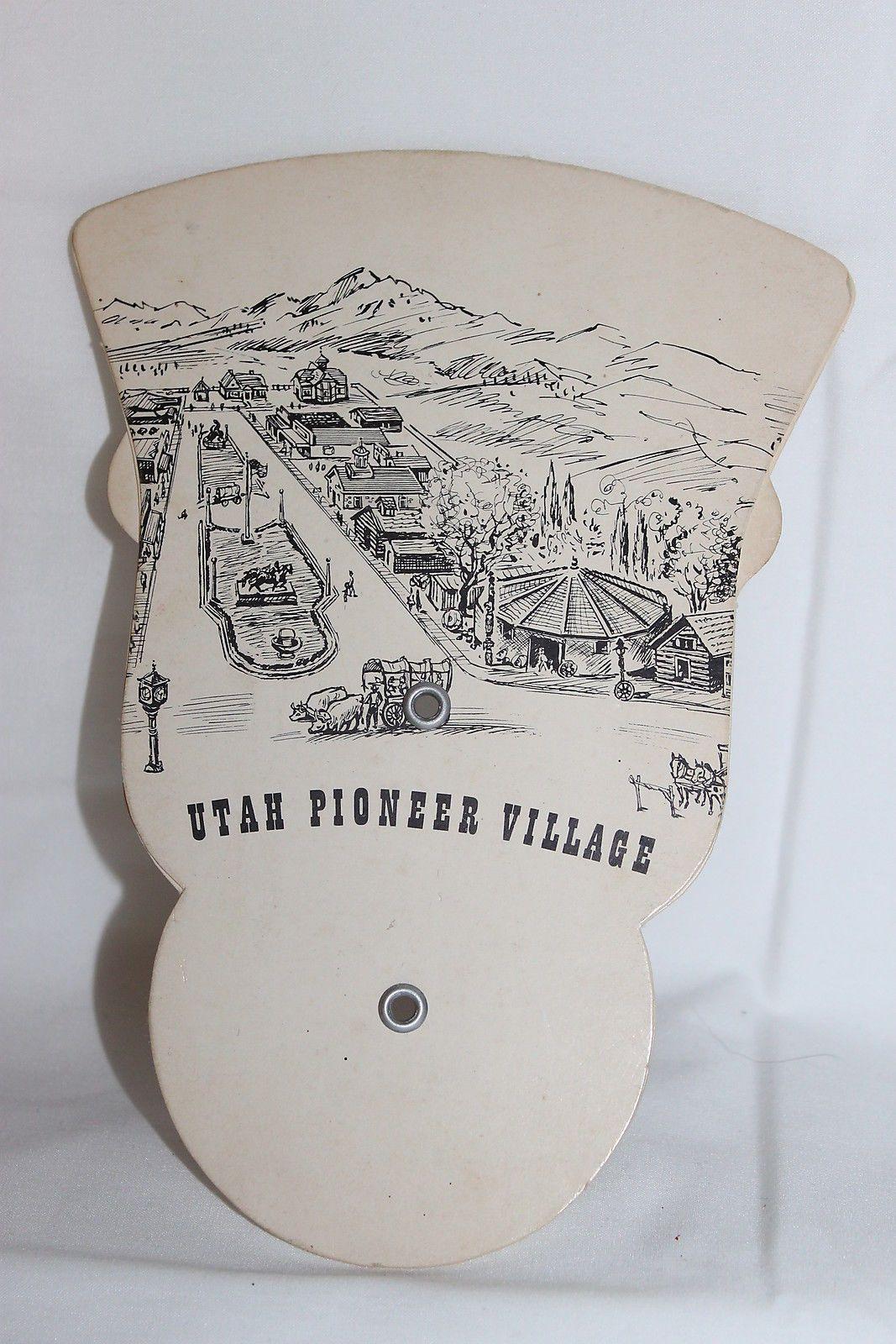 Vintage Utah Pioneer Village Folding Adertising Cardboard Fan SE Furniture Store | eBay