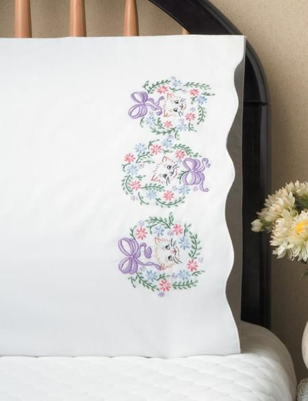 Floral Cats Pillowcase Pair Stamped Embroidery Kit Hand