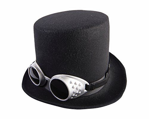Black Steampunk Top Hat and Goggles Deluxe Costume Access... https ... f51fddda2450