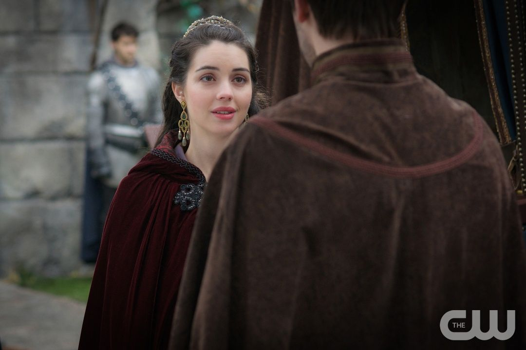 """Reign -- """"Safe Passage"""" -- Image Number: RE315a_0116.jpg -- Pictured (L-R): Adelaide Kane as Mary, Queen of Scots and Torrance Coombs as Bash -- Photo: Sven Frenzel/The CW -- © 2016 The CW Network, LLC. All rights reserved."""