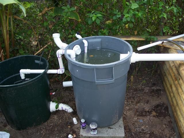 Outdoor pond filter and settling tank garden pinterest for Fish pond water filtration system