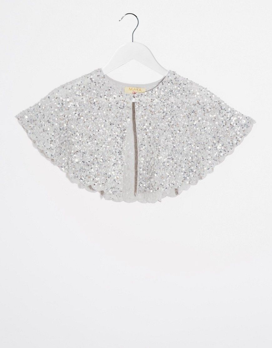 Maya All Over Sequin Cape in Silver Sequins | Elbise | Sequin cape ...