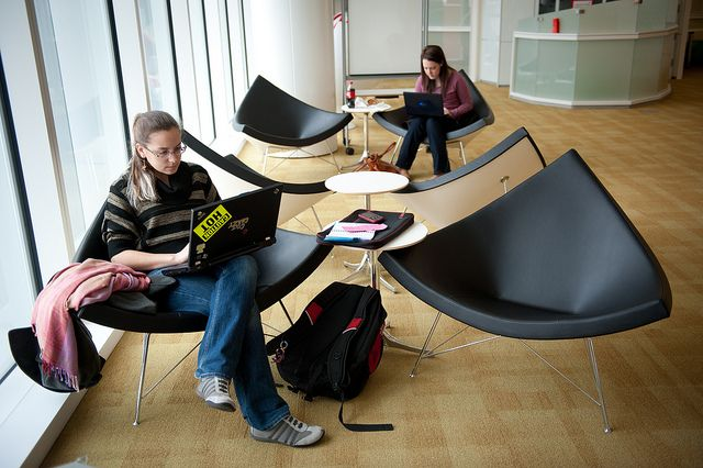 Students study inside of the Hunt Library.