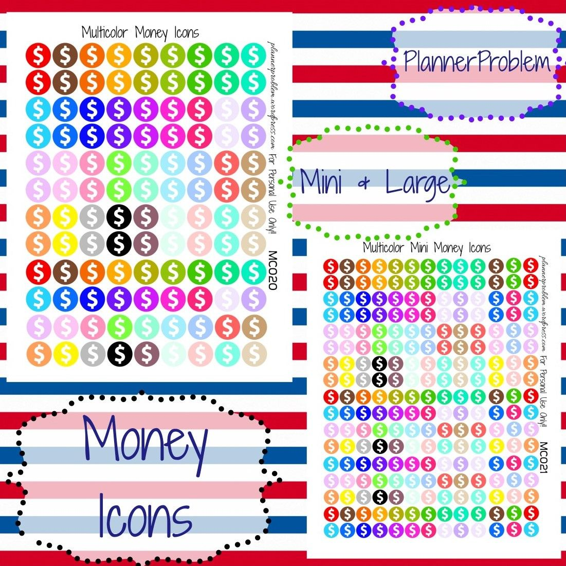 Multicolor Money Icons! | Free Printable Planner stickers from plannerproblem.wordpress.com! Available in mini and large sizes! Download for free at the link below! https://plannerproblem.wordpress.co