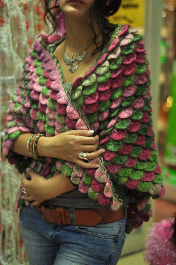 Cocodrilo patrón chal en múltiples colores tejidas a mano | Crochet ...