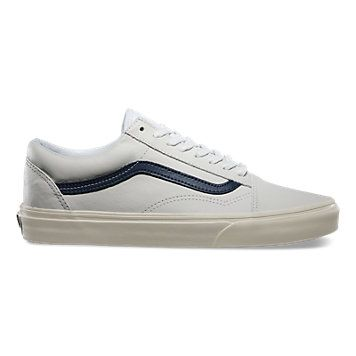 vans old skool matte leather unisex true white/dress blue