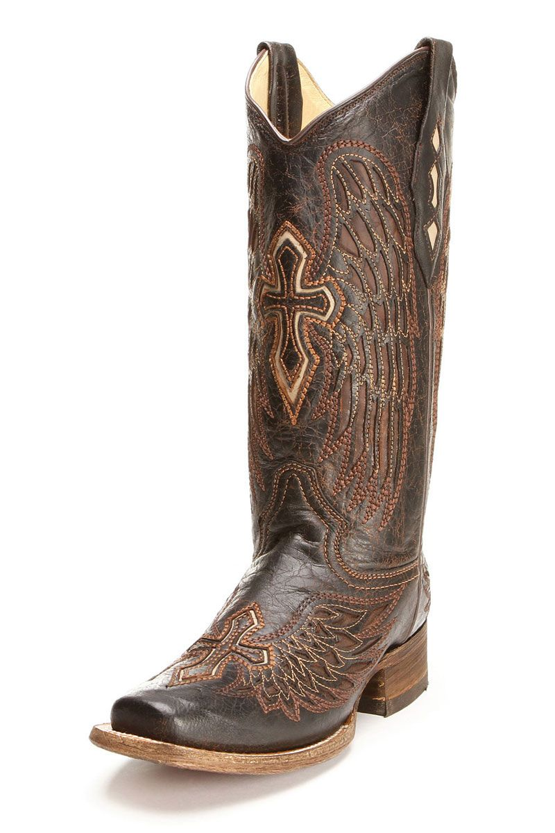 19a8abe8831 cowgirl boots | Corral Women's Brown Bone Wing and Cross Cowgirl ...