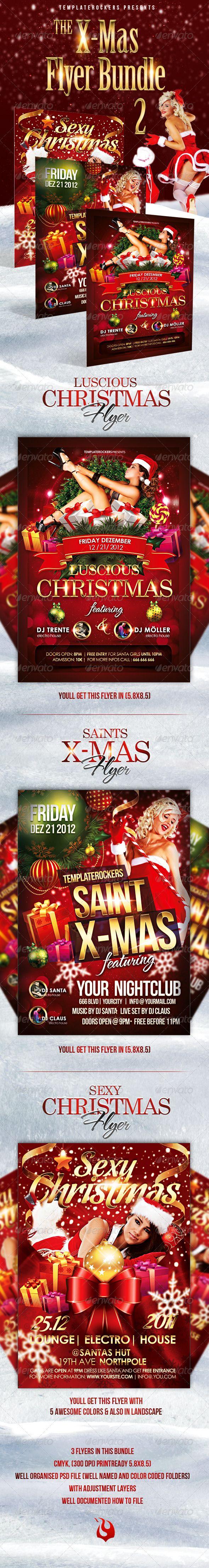 The X Mas Flyer Bundle 2 Incl 3 Flyers Pinterest Christmas