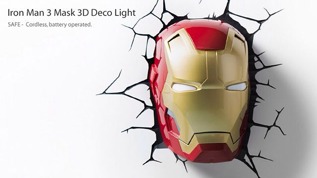 Iron man 3d deco light iron man fan will go crazy for one of these iron man 3d deco light iron man fan will go crazy for one of these new 3d wall lights looks like iron man is coming through your wall includes crack aloadofball Choice Image