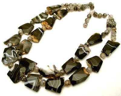 Iris G Huge Chunky Multistrand Botswana Agate Gemstone Runway Necklace OOAK | eBay