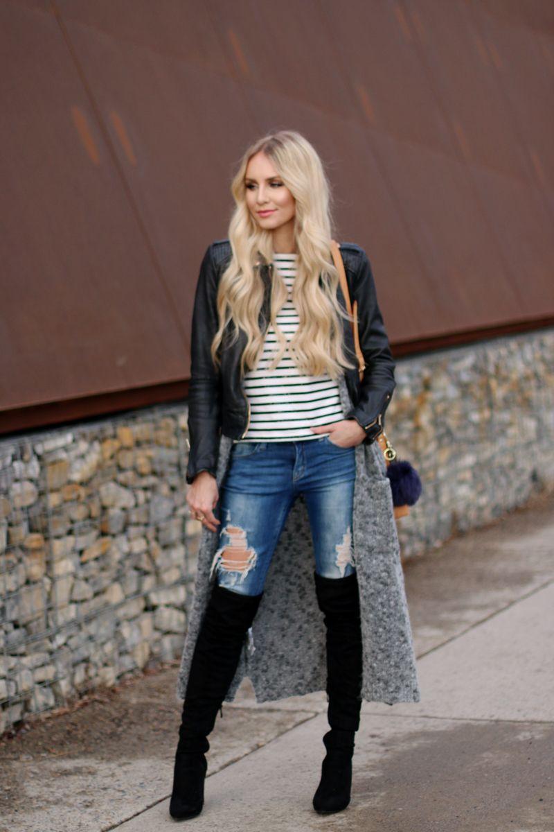 8f64b2cd5090 Leather Jacket  Zara, Long Cardigan  Mango, Jeans  Tally, Sweater  Zalando,  Over the Knee Boots  Public Desire, Bag  Louis Vuitton, Faux Fur Pom  H M