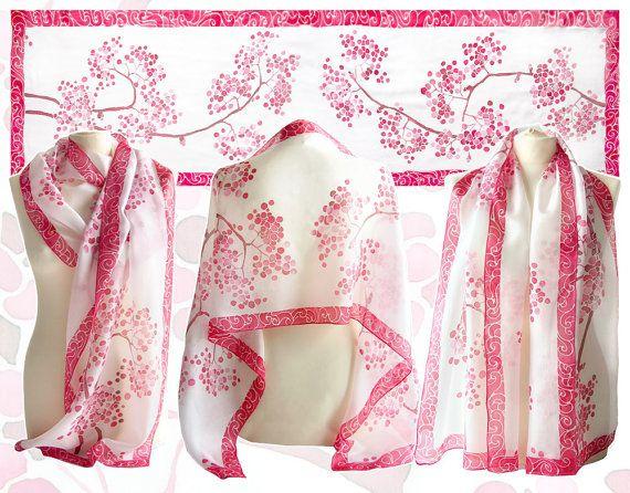 Silk scarf ROWAN - scarves handpainted - scarf Mountain ...