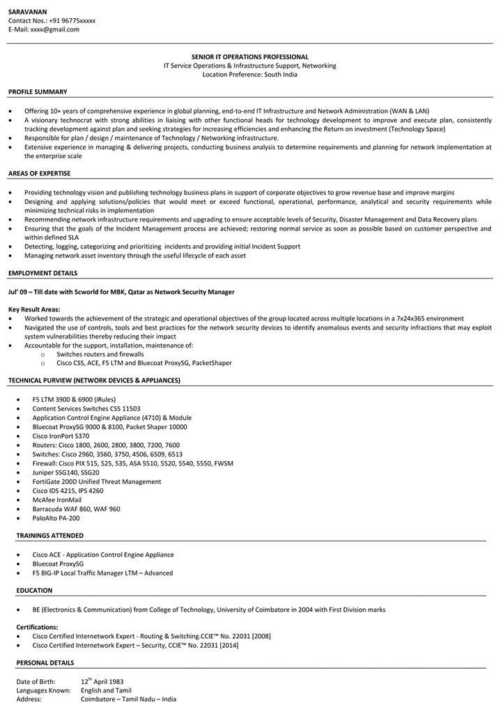 Resume Examples Network Engineer Network engineer