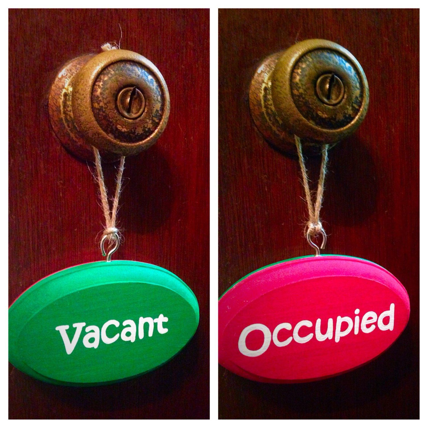 Fine Vacant Occupied Double Sided Bathroom Sign Red Green Kids Home Interior And Landscaping Elinuenasavecom