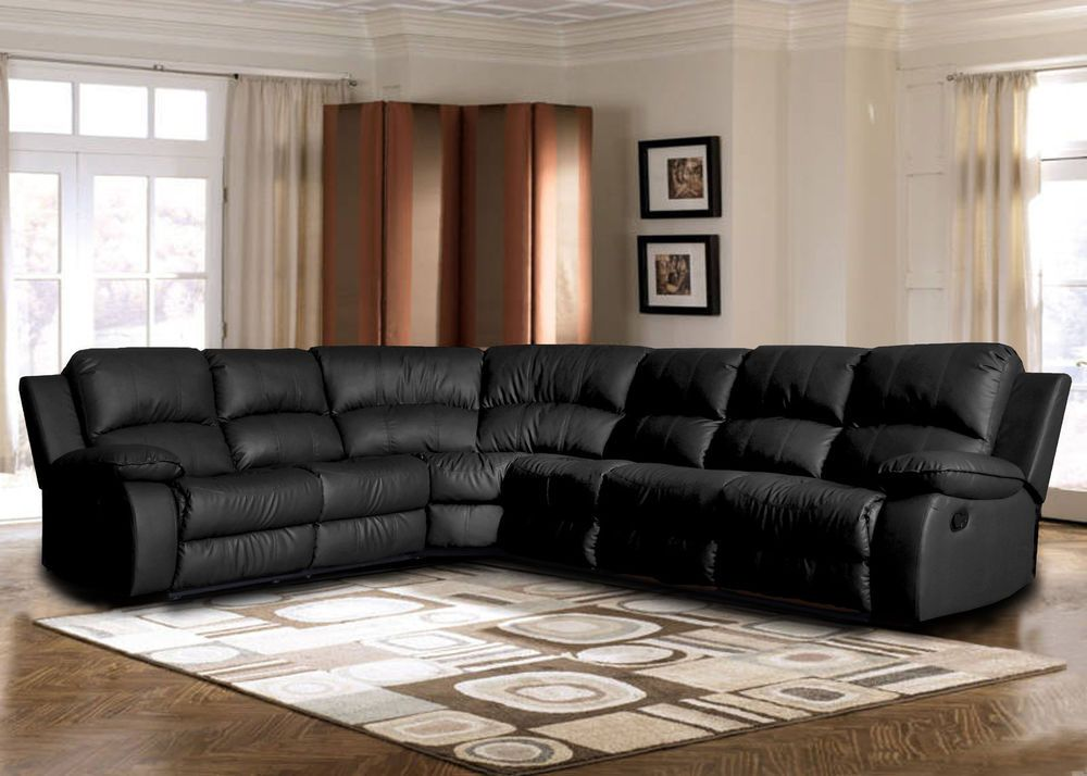 Best Black Sectional Sofa Large Classic Bonded Leather Corner 400 x 300