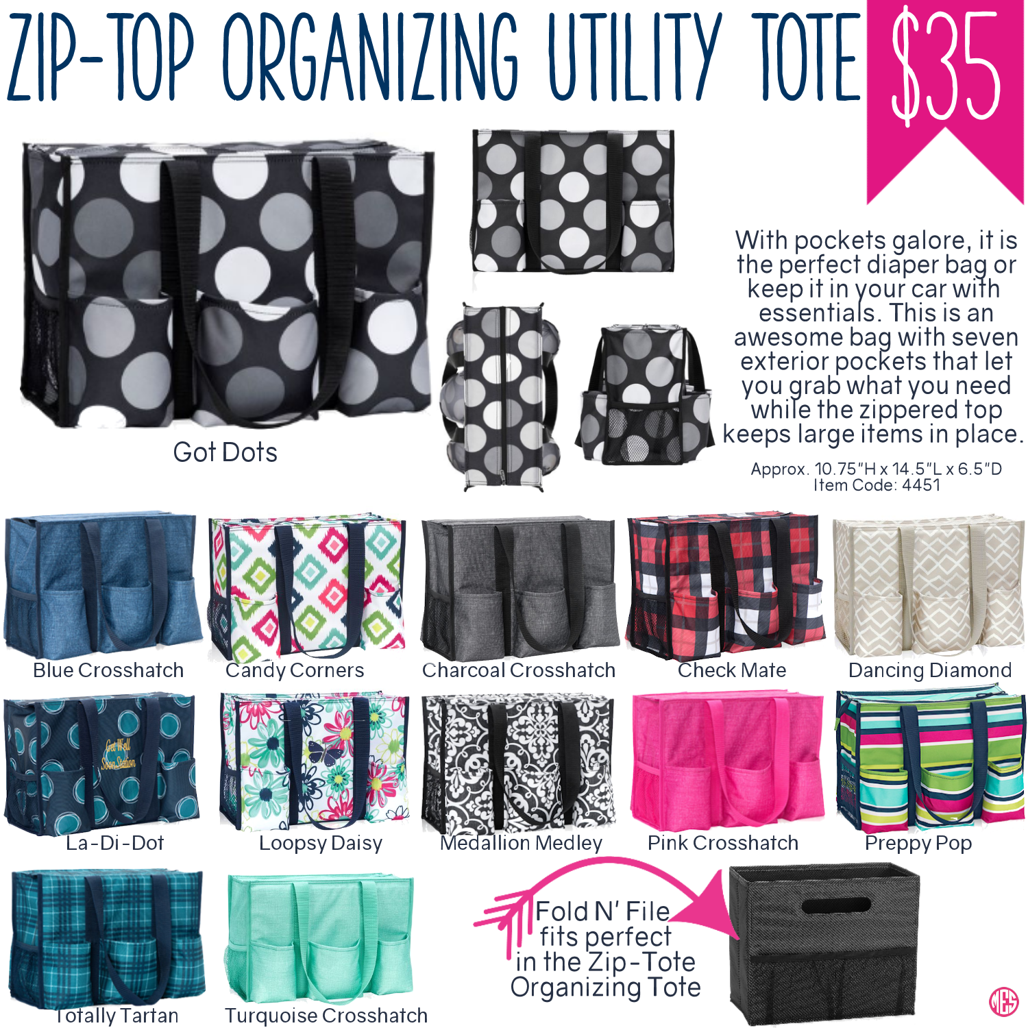 Thirty One Zip Top Organizing Utility Tote Spring Summer 2017
