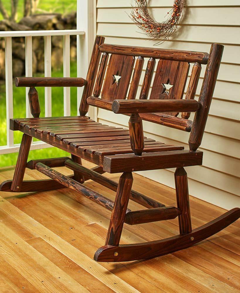 2 Person Wooden Rocking Bench Seat Outdoor Garden Yard Porch Patio Rocker Chairs Ebay Outdoor Chairs Wooden Rocking Bench Porch Chairs