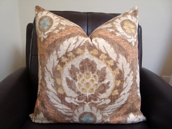 Decorative Designer Kravet Brown Grey Cream Beige Ivory Tan Medallion Ikat Exotic Pillow Cover 20 x20 Modern Accent Sofa cushion Euro Sham