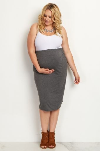 623739e1d2102 Charcoal Fitted Plus Maternity Pencil Skirt | Maternity Skirts ...